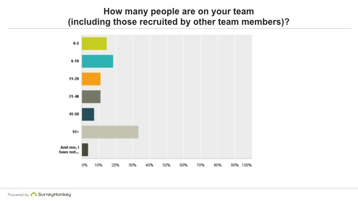 How many people are in your team (including those recruited by other team members)?